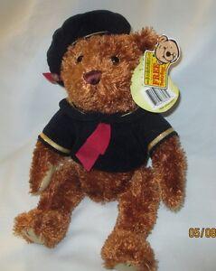 "Brass Button Teddy Bear Plush Jessie 12"" Stuffed Animal Brown Blue Sailor suit"