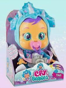 Cry Babies Fantasy Tina Blue Dinosaur Unicorn Interactive Baby Doll Crying Real