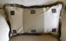 NEW Wide Striped SILK SQUARES Oblong Taupe Brown Cushion covers & Silky Fringe