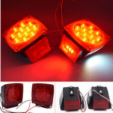 """2PCS Boat Red Square LED Lights Trailer Under 80"""" Tail Stop Brake NO Wiring"""