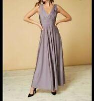 Issa Olivia Deep V Maxi Bridesmaid Dress Size 10 RRP £119 {R8} {30}