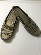 Cole Haan Women's Metallic Olive Green Leather Loafers Slip Ons Shoes Size 8.5 B