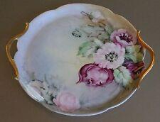 """1900's T&V (Tresseman & Vogt) Limoges France 10.5"""" Handled Floral Cake Plate"""