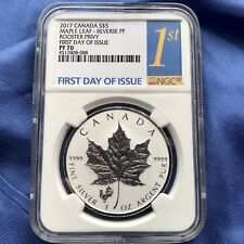 2017 CANADA 1oz SILVER $5 MAPLE LEAF, NGC REV PF70, ROOSTER PRIVY, 1ST DAY LABEL