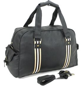 Italian Leather Style Holdall Luggage Weekend Duffel Travel Overnight Bag Black