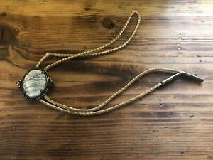 Vintage Bolo Tie, White and Gray Stone, Tan Leather Straps, Western Wear