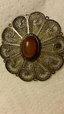 STERLING SILVER BROOCH PIN AGATE STONE FILIGREE Middle East Palestine ca1920-40s