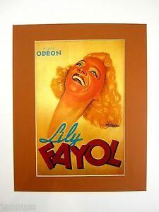alter Druck Bild hinter Passepartout Frankreich Sängerin Lily Fayol 50x40cm 266