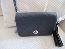 NWT Coach Legacy Embossed Quilted Leather Penny/ Cross Body Bag Silver/Black