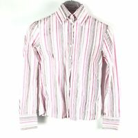 Hawes & Curtis Womens Semi Fitted Shirt Size 12 Multicolored Pinstripe Button Up