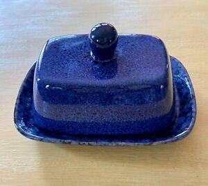 Blue and Black Sponge Splatter Ceramic Butter Dish