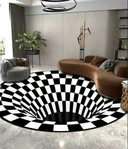 3D Printed Black White Vortex Illusion Anti-slip Room Rug Carpet Floor Door Mat-