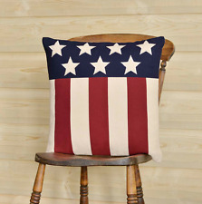 RUSTIC AMERICAN FLAG PILLOW : APPLIQUE RED BLUE PATRIOT AMERICANA TOSS CUSHION