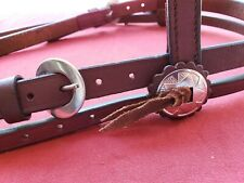 Western Leather Browband Headstall Bridle w/ Nickel Buckles and Conchos