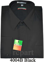 New French cuff men's dress shirts cover button work formal wedding Black
