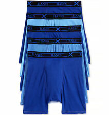 $62 HANES UNDERWEAR MEN BLUE COMFORT COTTON X-TEMP 5-PACK BOXER BRIEFS SIZE M