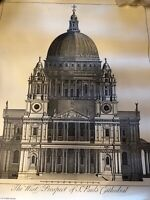 Vintage Print The West Prospect of St Paul's Cathedral London             LS0497