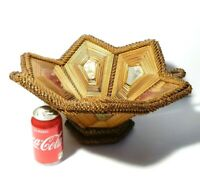 c1805 Folk Art Handmade Stained Straw Work Weaved Basket Pin Cushions Mirrors