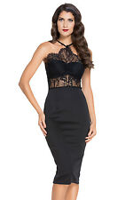 Hot Black Halter Lace Inserted Sheer Fitted Midi Dress Medium