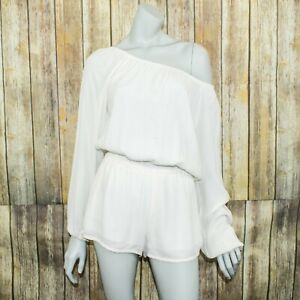 Show Me Your MuMu Women's off Shoulder Romper White Polyester Size Medium