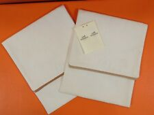 Authentic HERMES Pair Pouch Purse Ivory Cotton Leather Travel Bag H Design DT26