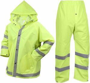 Mens Neon Yellow Reflective PVC Rain Suit, Pants & Jacket 2 Piece Set