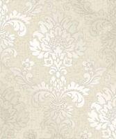 Fine Decor 'Pure' Metallic Glitter Damask Wallpaper Cream Gold (FD41970)