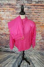 VTG Adidas Women's Pink Full Zip Hooded Athletic Nylon Running Track Suit Sz M