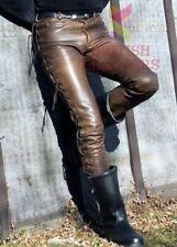 Men's Real Cowhide Waxed Brown Leather Pants Side Lacing Jean Trouser Cuir Braun