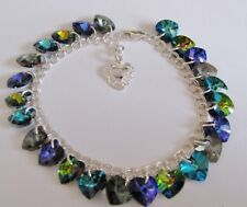 Peacock Heart Charm Bracelet Made with Swarovski & Solid Sterling Silver