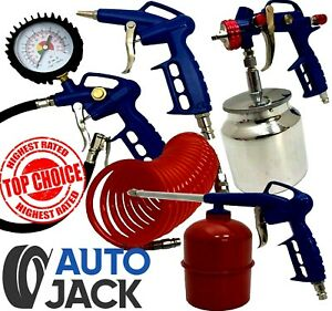 Air Tool Compressor Kit Autojack Tyre Inflator Spray Gun Degreaser Blower Hose