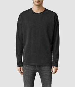 All Saints Mens Crew Neck Ripper Charcoal Designer Sweatshirt Sweater Jumper