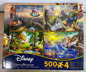 Thomas Kinkade Disney 4-in-1 500 Piece Puzzle Set Aladdin Belle Ariel Pooh