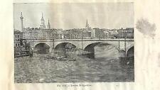 Stampa antica LONDRA LONDON Ponte sul Tamigi 1889 Old antique print