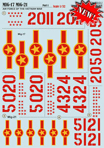 Print Scale 32-011 - 1/32 Decal for Mig-17 / Mig-21 Air Force of the Vietnam War