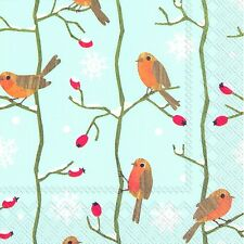 LITTLE RED ROBINS Blue Christmas paper napkins traditional english 20 in pack