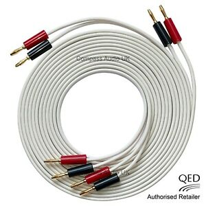 QED 79 Strand OFC White Speaker Cable 2 x 2.5m Terminated 8 x 4mm Banana Plugs