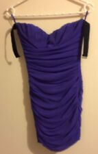 Woman's size S purple contoured bandage rippled strapless bodycon dress
