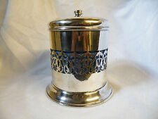 ANTIQUE/VINTAGE SILVER PLATED BISCUIT BARREL WITH BLUE CERAMIC LINER 1900-1940