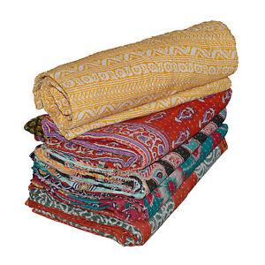 Vintage Kantha Quilt Handmade Blanket Bedspread Throw Cotton bedding cover 1 pc