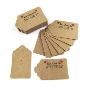 """Card Gift Tags Brown 5x3cm Rectangle """"Handmade With Love By"""" Pack Of 40+"""