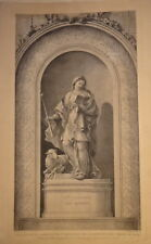 Ch. NATOIRE (1700-1777) GRANDE GRAVURE XVIII° SAINTE GENEVIEVE FEMME RELIGION