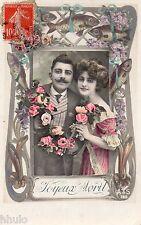 BK547 Carte Photo vintage card RPPC couple fantaisie mode fashion poisson avril