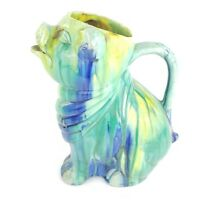 Vintage Pig Pottery Blue Yellow & Green Drip Glaze Planter Pitcher 11''