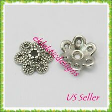 20pcs 10mm Antique Silver Alloy Tibetan 6 Petal Daisy Flower Bead Caps FREE SHIP