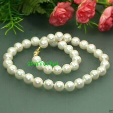 "Fashion Natural 10mm White South Sea Shell Pearl Gemstone Necklace 18"" AAA"