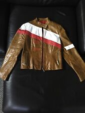 Ladies Tag Heuer New Original Vint Brown Leather Jacket Size L Dakota Grand Prix