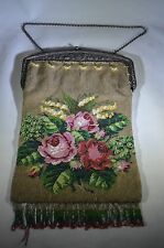 Italy Antique Micro Hand bag Glass Bead Metal Frame Jeweled Floral Purse made