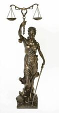 """32"""" Tall Bronzed Justice Sculpture Statue Law Marble Lady Home Decor"""