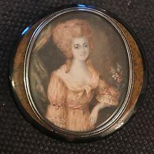portrait miniature école française Fin 18ème ( tabatière)